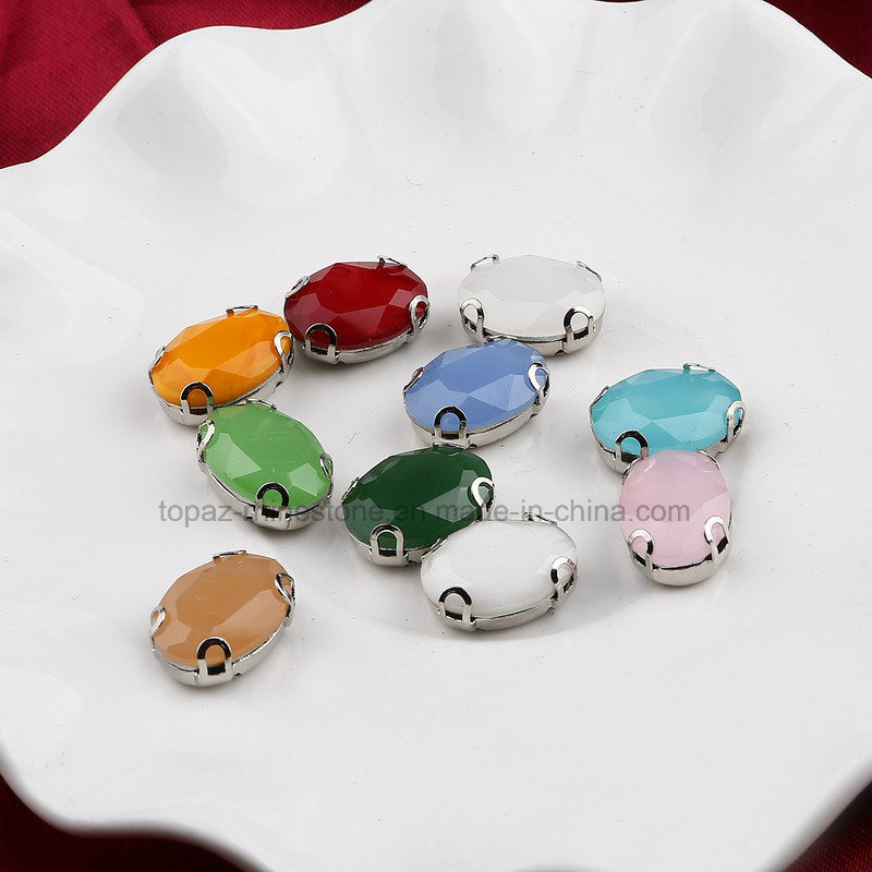 Oval 10*14 Neon Oppal Color Hand Sewing Rhinestones DIY Wedding Dress Accessories (SW-oppal Drop 10*14)
