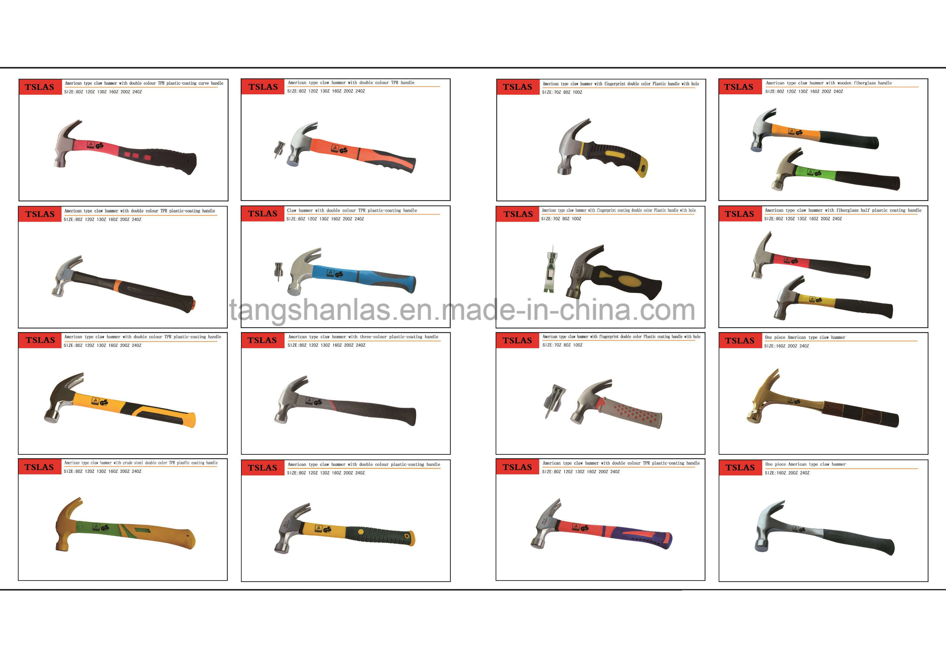 One Piece Claw Hammer with Double Color Plastic Coating Handle