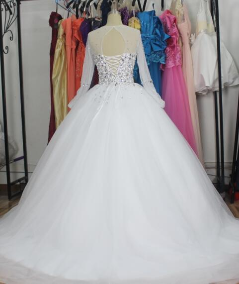 Crystal Bridal Ball Gowns Long Sleeves Beading Sparkle Wedding Dress Z2016