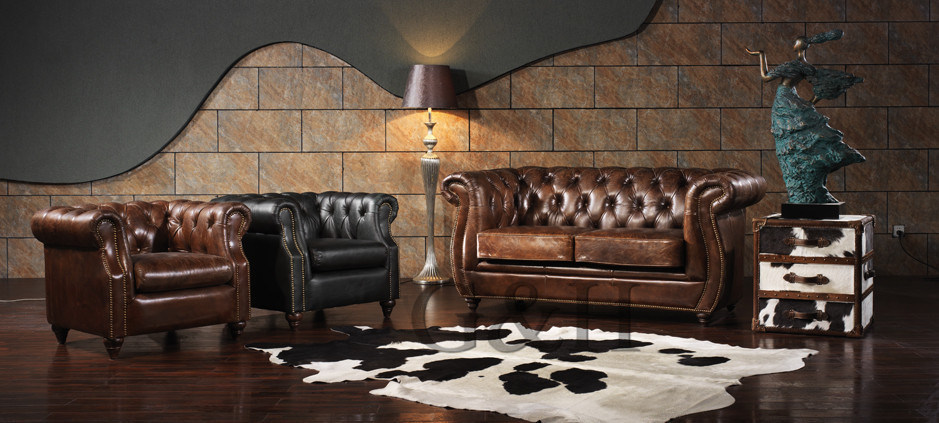 The Vintage Luxury Leather Reception Sofa