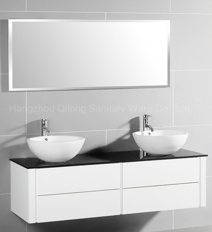 MDF Big Size Bathroom Cabinet with Glass Worktop