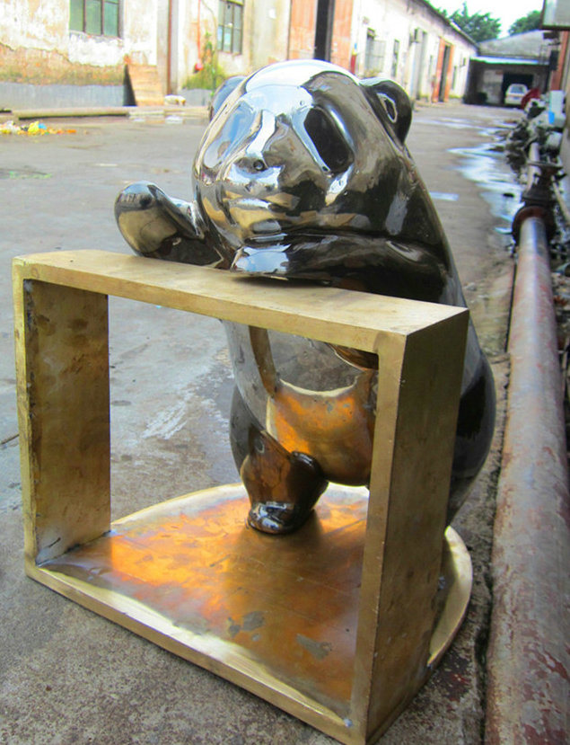 Lovely Stainless Steel Panda, Outdoor Garden, Interior Decoration, Gift Sculpture