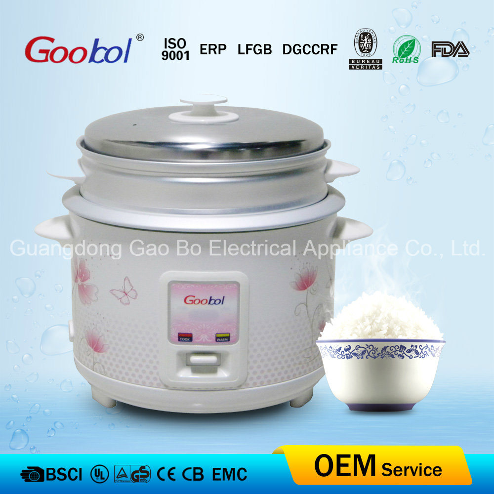 Rectangle Panel Straight Rice Cooker with Flower Housing 1.8L
