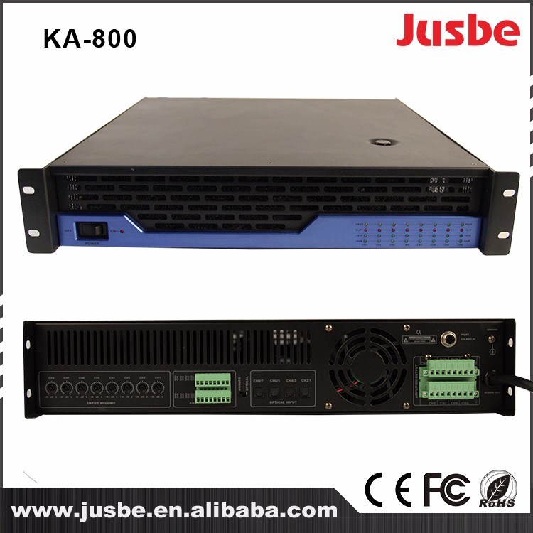 Jusbe 120/200W 8 Channel PA System Loudspeaker Amplifier with RS485