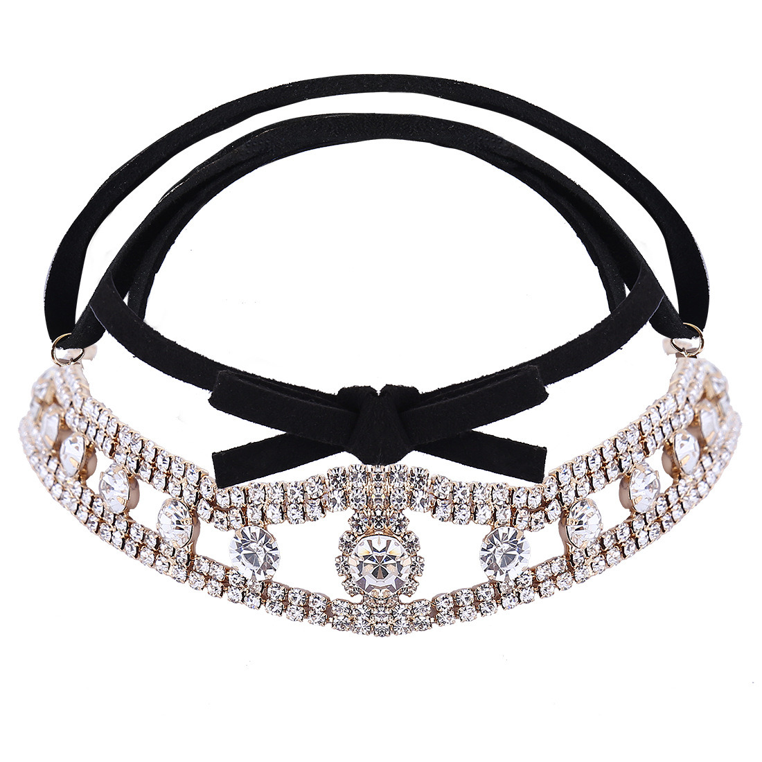 Fashion PU Fabrics Velvet Ribbon Diamond Rhinestone Collar Choker Necklace Jewelry