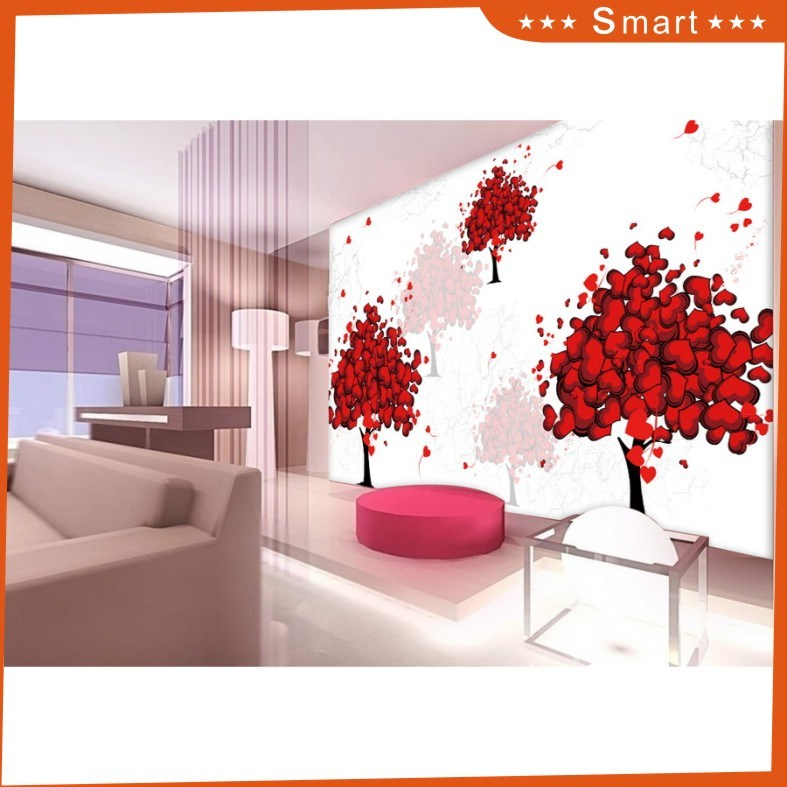 a Tree Full of Red Hearts Pattern Design for Home Decoration Oil Painting