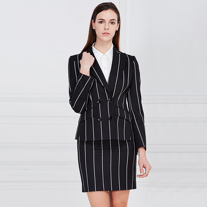 Ladies Wool Ployester Elegant Business Women Skirt Suit Blouse