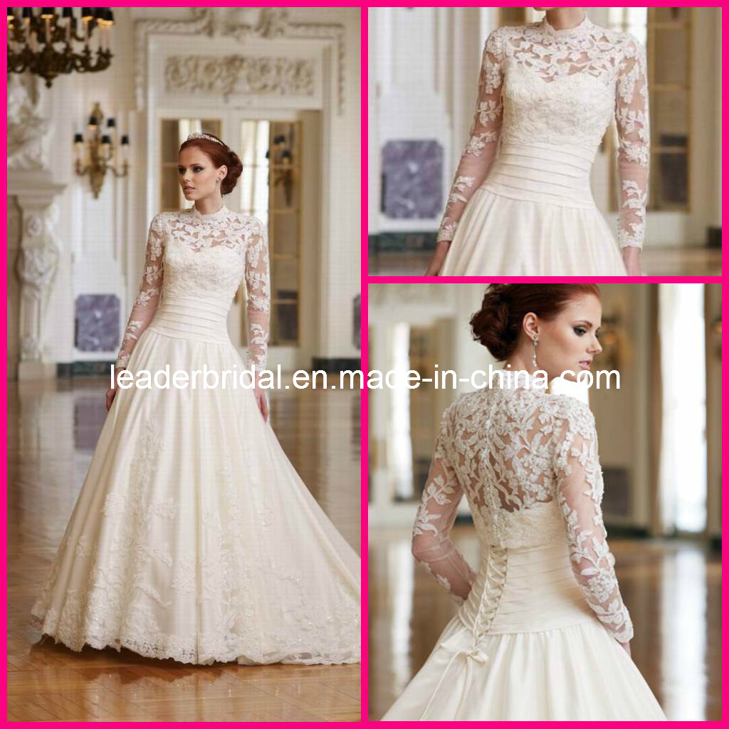 China lace bridal gowns full sleeves champagne lace for Full sleeve lace wedding dress