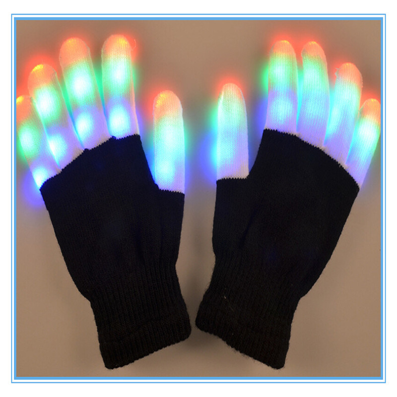 LED Black Luminous Woolen Dance Gloves for Hallowmas