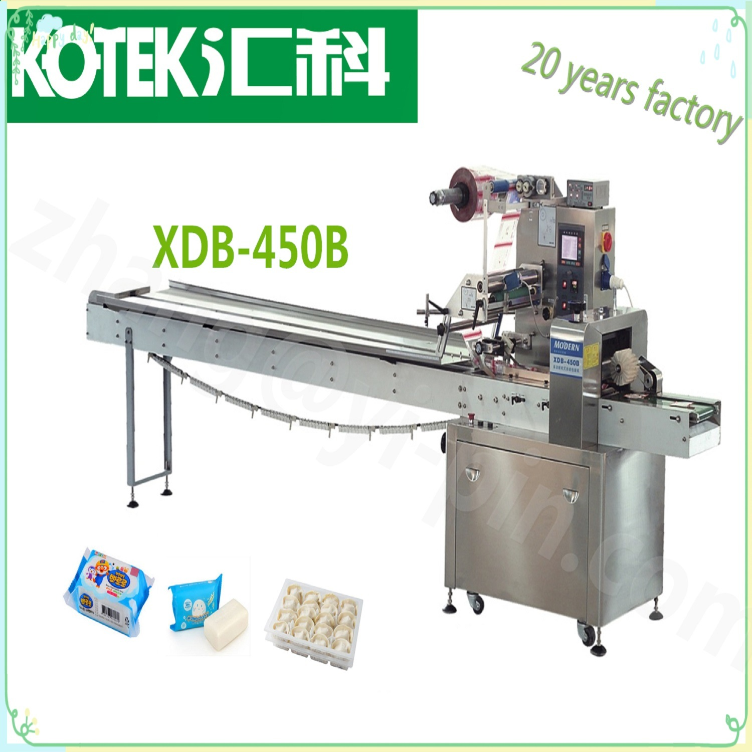 Full Stainless Steel Automatic Film Bag Wrapping Food Mooncake Pillow Packing Machine