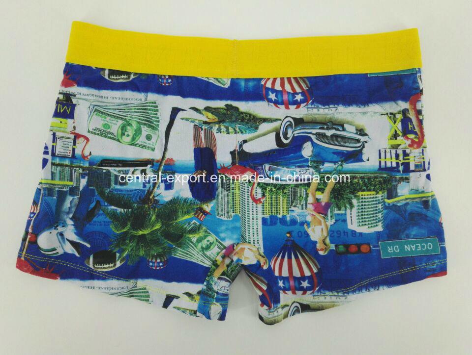 Reactive Print Cotton Youth Men′s Underwear Boxer Brief