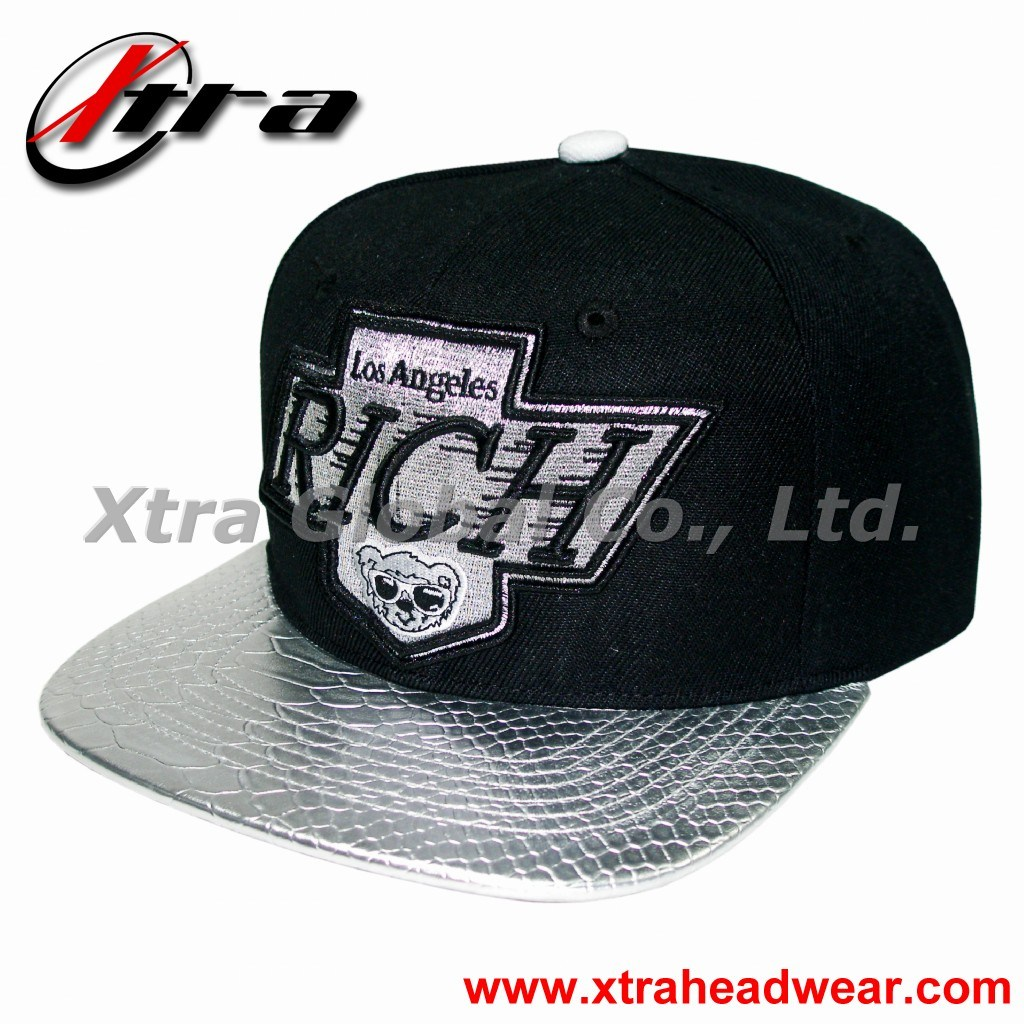 Snap Back Cap with Metal Thread Embroidery