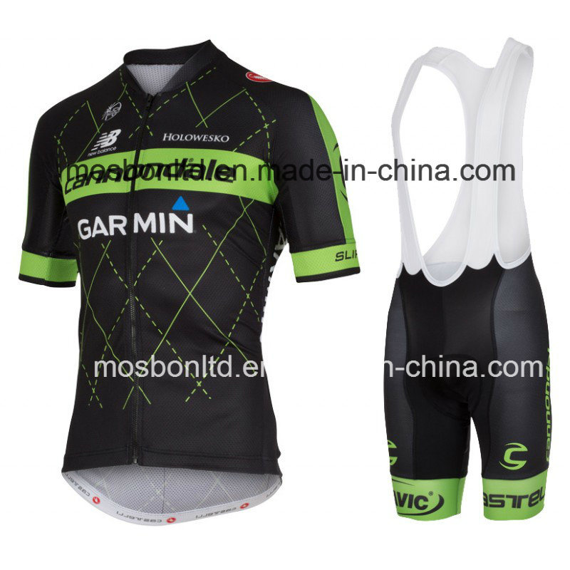 2016 Black/Green Cycling Jersey and Bib Shorts Set
