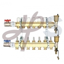 Brass Heating Manifold with Ball Valve and Air Vent