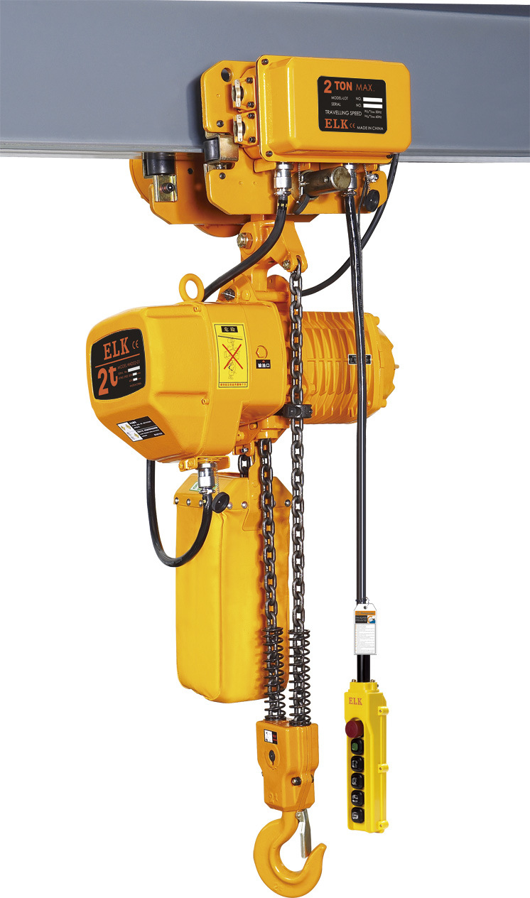 China 2 ton electric chain hoist with trolley hkdm 0202s for 2 ton hoist with motorized trolley