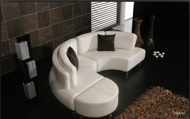 china round shape american style leather sofa al115. Black Bedroom Furniture Sets. Home Design Ideas