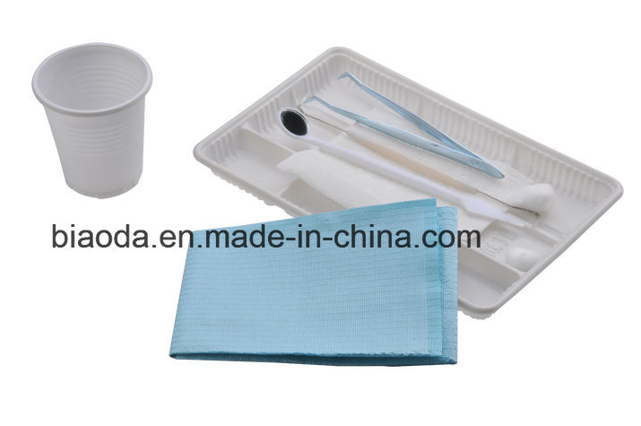Disposable Dental Instrument Kit (glass mirror+stainless steel tweezer+double end probe+dental bib+plastic tray)