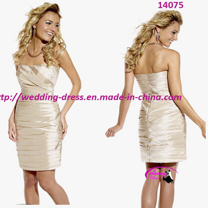 Fashion Short Bridesmaid Dress with Strapless for Cocktail