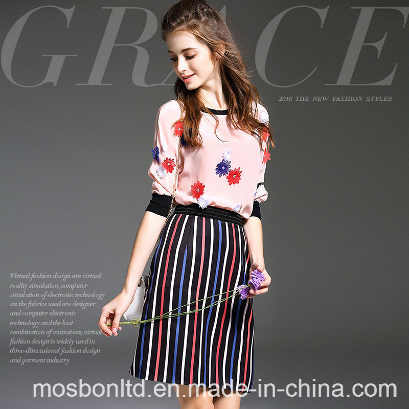 Europe Women′s Fashion Silk Short Sleeve Tops T-Shirt + Long Skirt