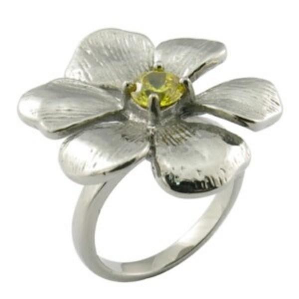 Fashion Women Stainless Steel Flower Diamond Ring
