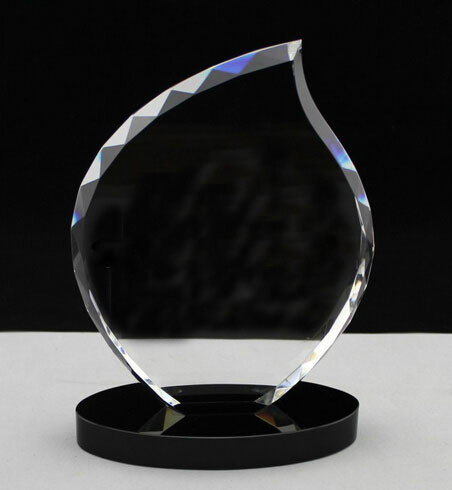 Popular Etched Glass Trophy Craft, Glass Prize Plaque Hot Selling