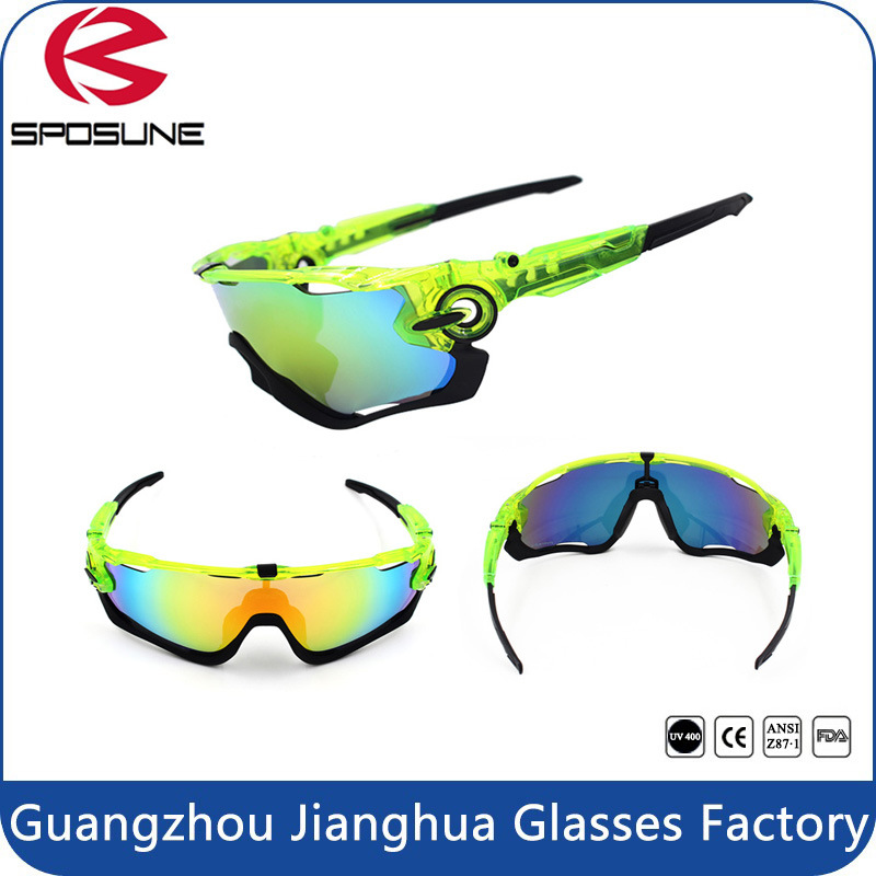 2015 Men′s Sport Full Shield Lens Wrap Around UV Protective Cycling Sport Glasses