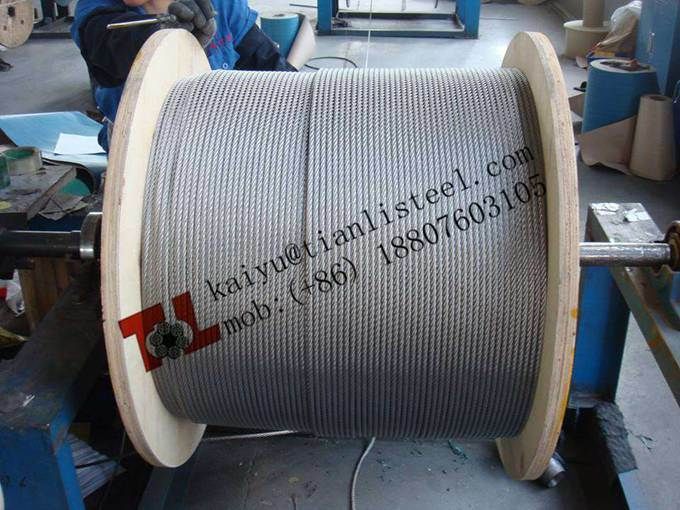 316 A4 1.4401 7X7 3.18mm 1/8 Inch Stainless Steel Cable with Weight 40.96 Kg Per 1000m