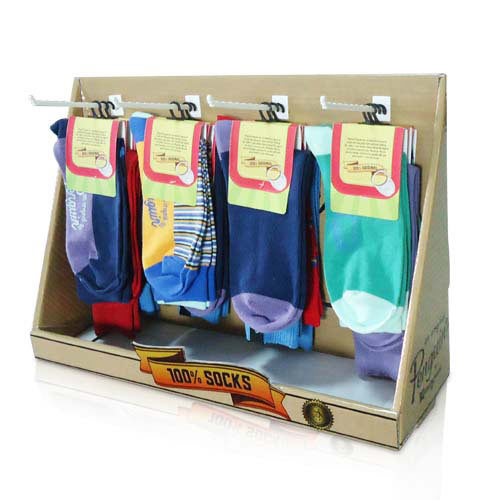 Peghooks Paper Counter Display Rack for Socks, Corrugated PDQ Counter Display