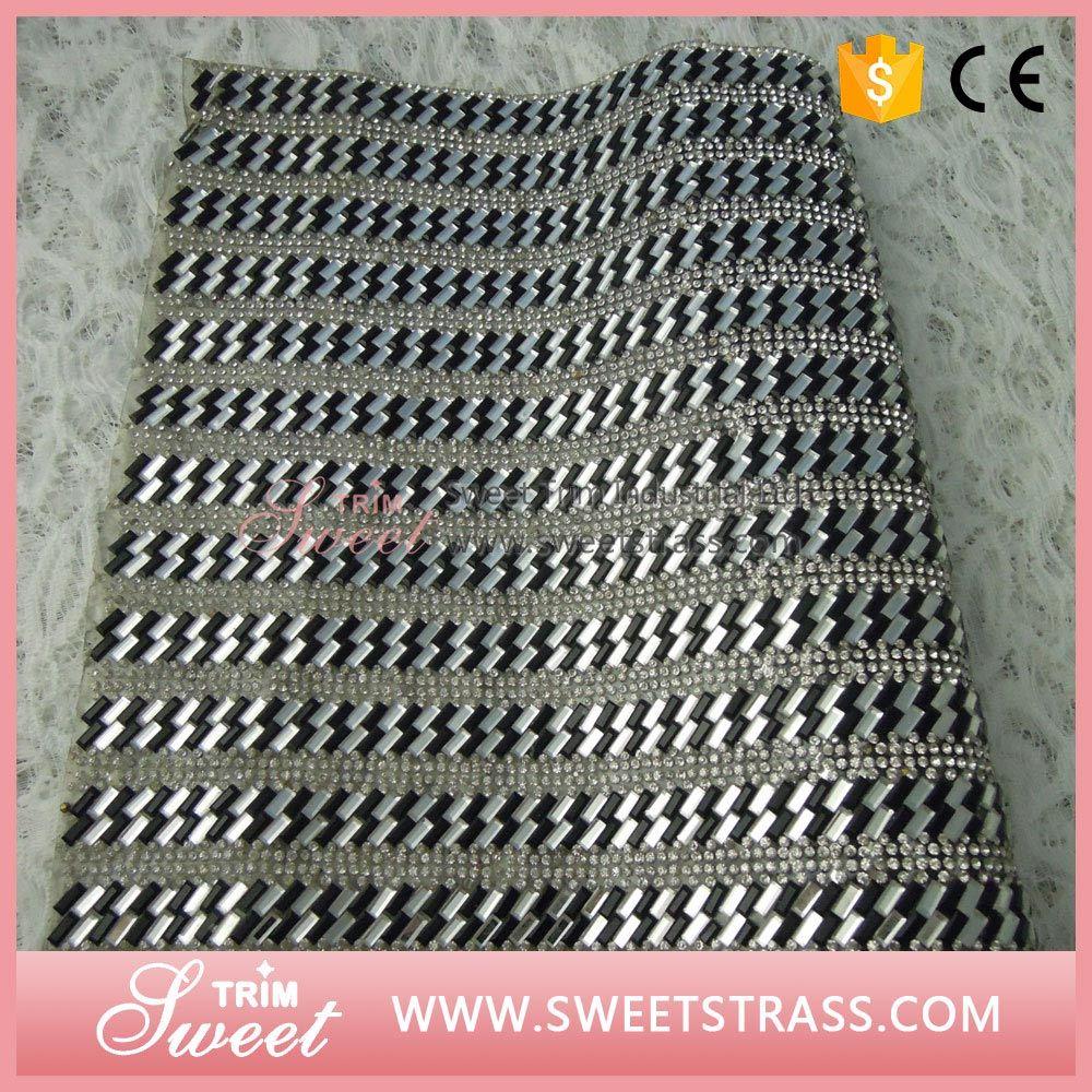 Garment Shoes Accessories 24*40cm Adhesive Hot Fix Strass Crystal Rhinestone Sheet Mesh Sticker