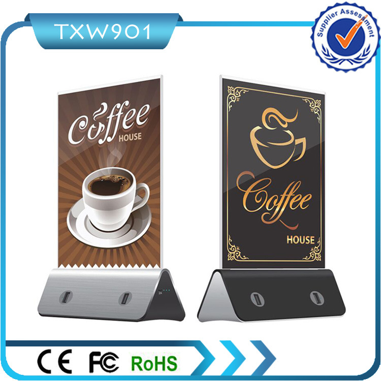 Best Selling Coffee Shop/Restaurant/ Bar Stand 10000mAh Power Bank with 4 USB