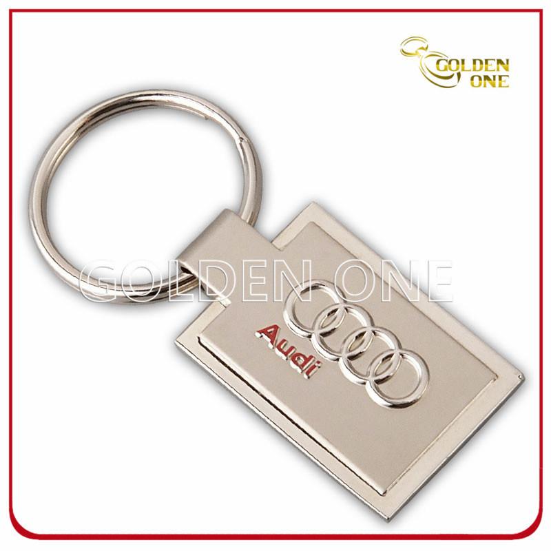 Rectangle Custom Embossed & Sandblasted Finish Metal Key Ring