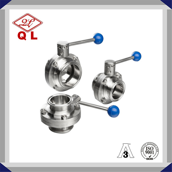 304/316L Sanitary Stainless Steel Clamped Butterfly Valve
