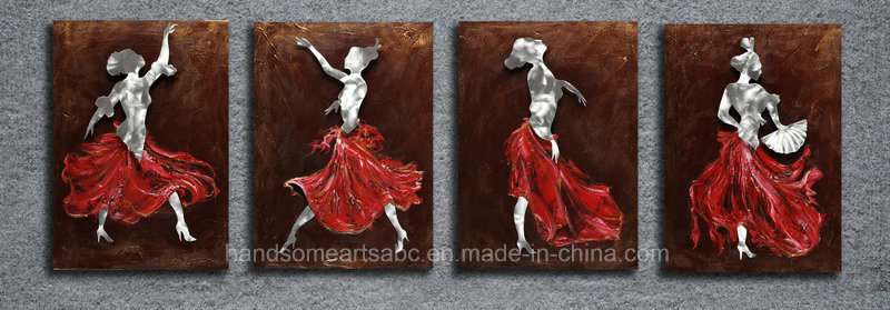 Dancing Lady 3D Aluminum Relievo Wall Craft for Home Deco