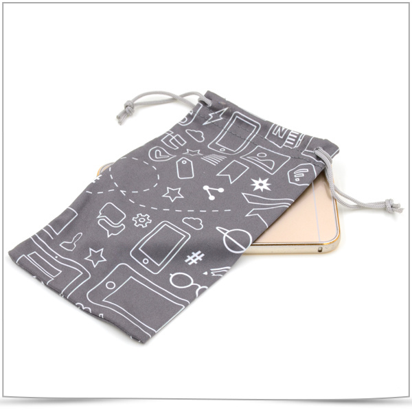 Double-Side Drawstring Microfiber Mobile Phone Pouch