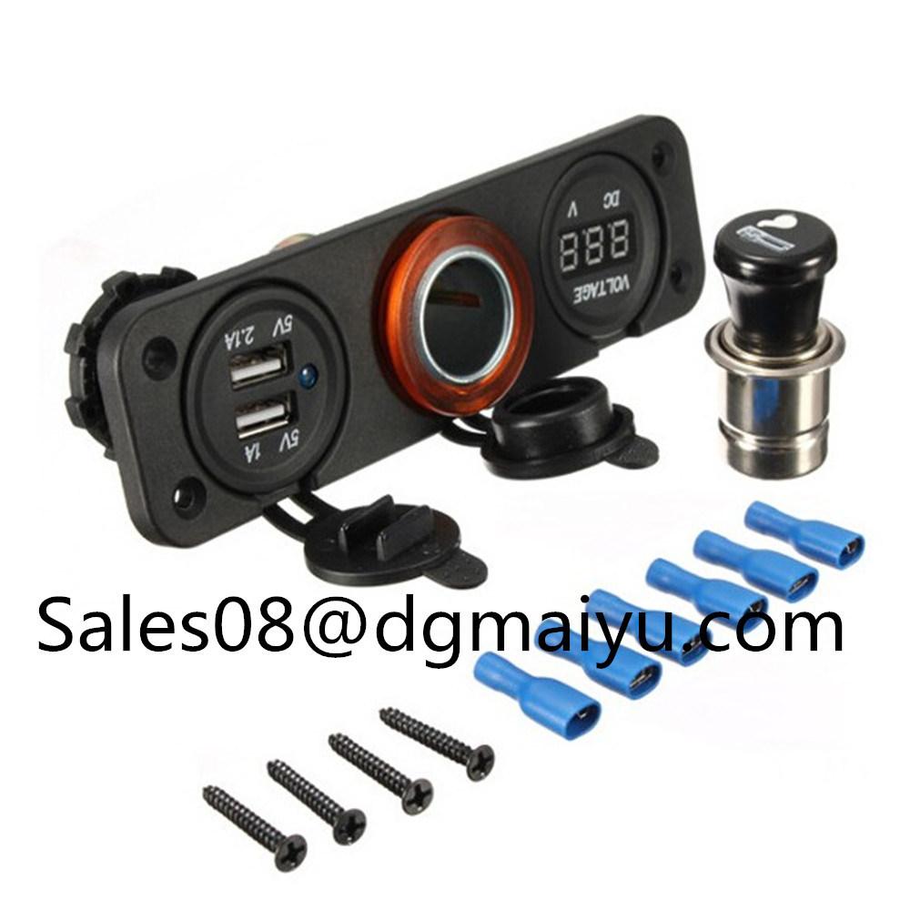 12-24V Car Dual USB Charger Adapter Sockets+ Voltmeter+Cigarette Lighter