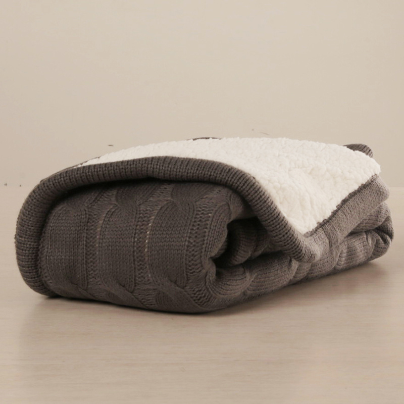 Heavy Weight 2 Layers Cable Knit Baby Blanket with Sherpa Backing