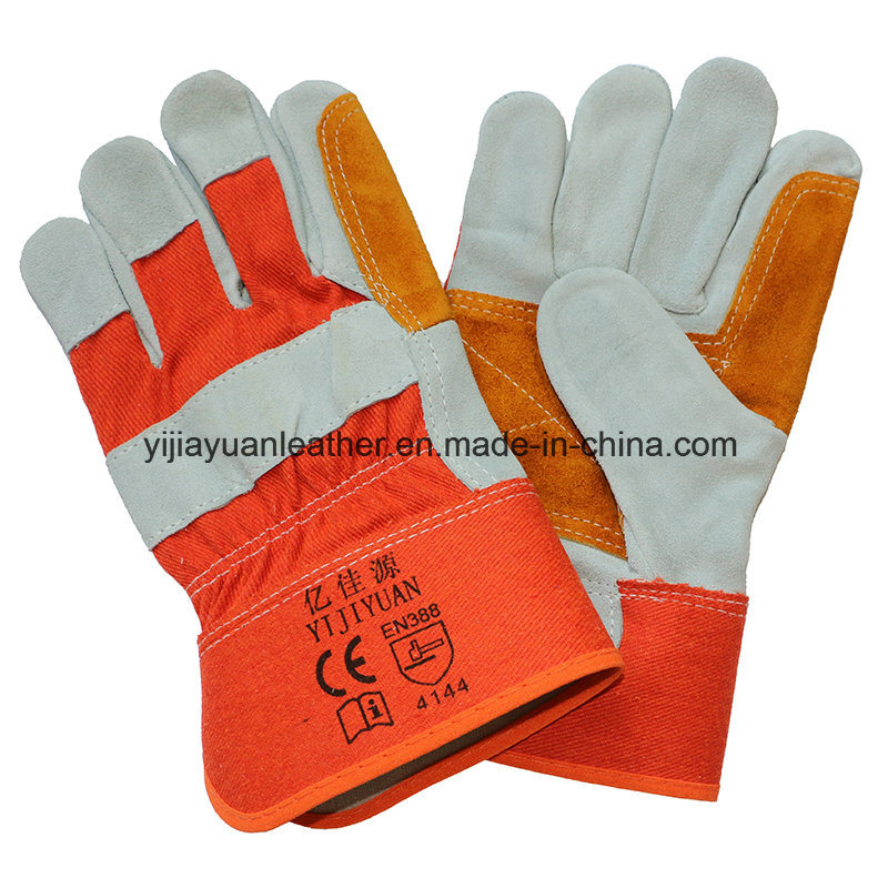 Cut Resistant Safety Cow Split Leather Protective Working Hand Gloves