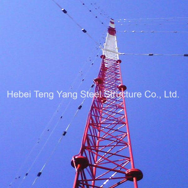 Antenna Steel Communication Tower Triangular Radio Telecom Guyed Tower
