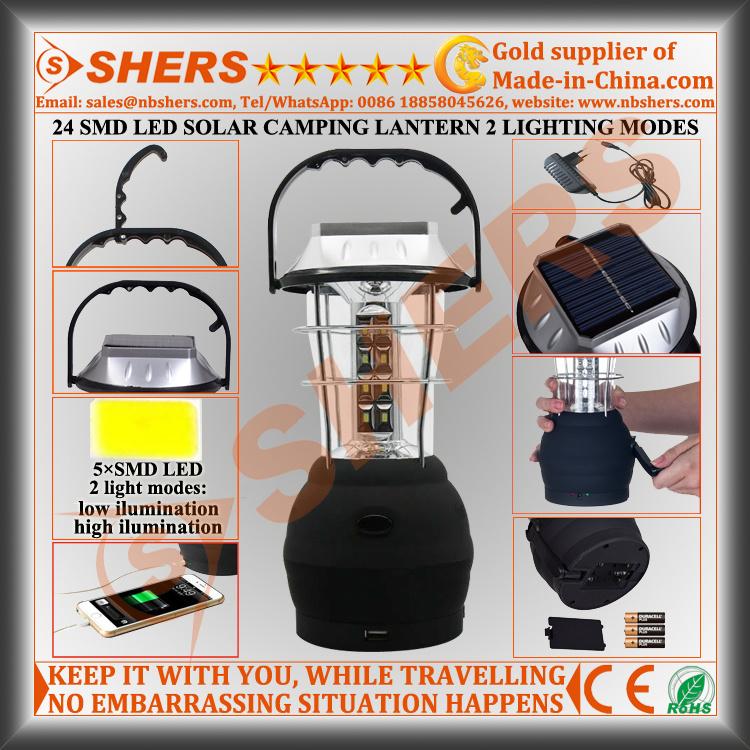 24 SMD LED Solar Camping Lantern with Dynamo Cranking (SH-1990S)