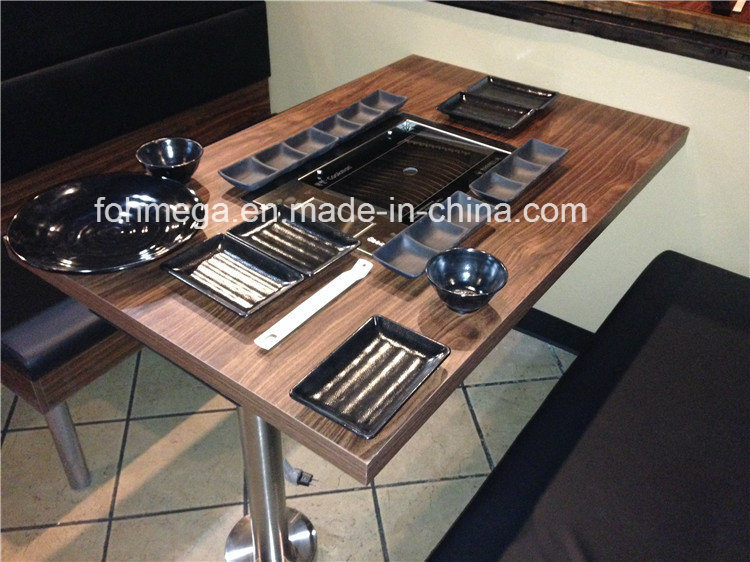 China Factory Directly Korean BBQ Grill Dining Table with Fixed
