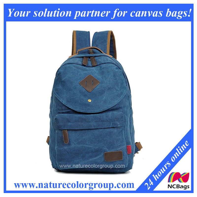 Unisex Vintage Casual School Sports Bag Rucksack Canvas Backpack (SBB-047)