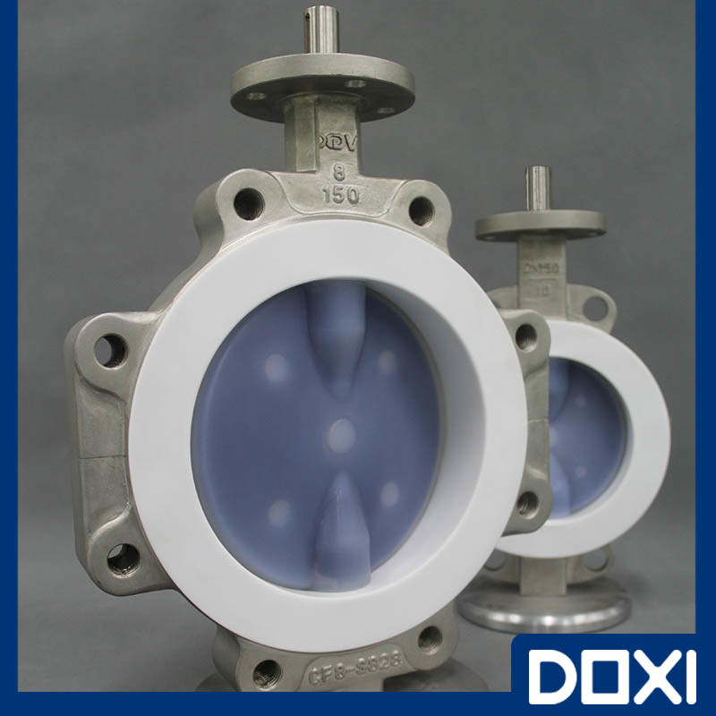 Lug Stainless Steel PFA Lined Butterfly Valve PTFE FEP