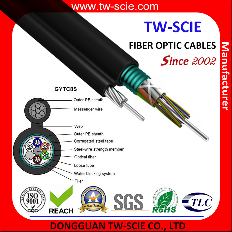Steel Messenger Wire Figure 8 Self-Support Fiber Optic Cable Gytc8s