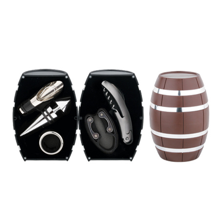 Oak Barrel Shaped Wine Gift Set (608012-B)