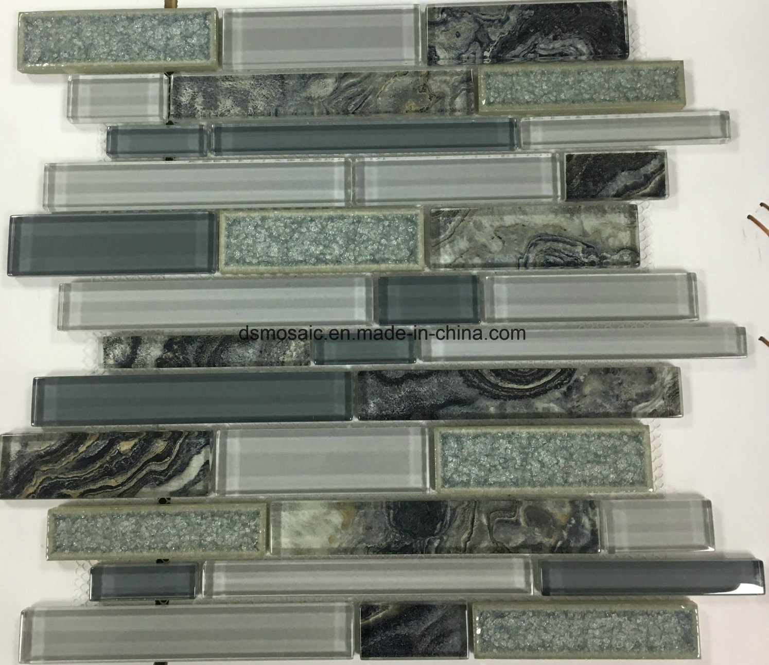 New Laminated Stripe Shape Glass Mosaic Tile