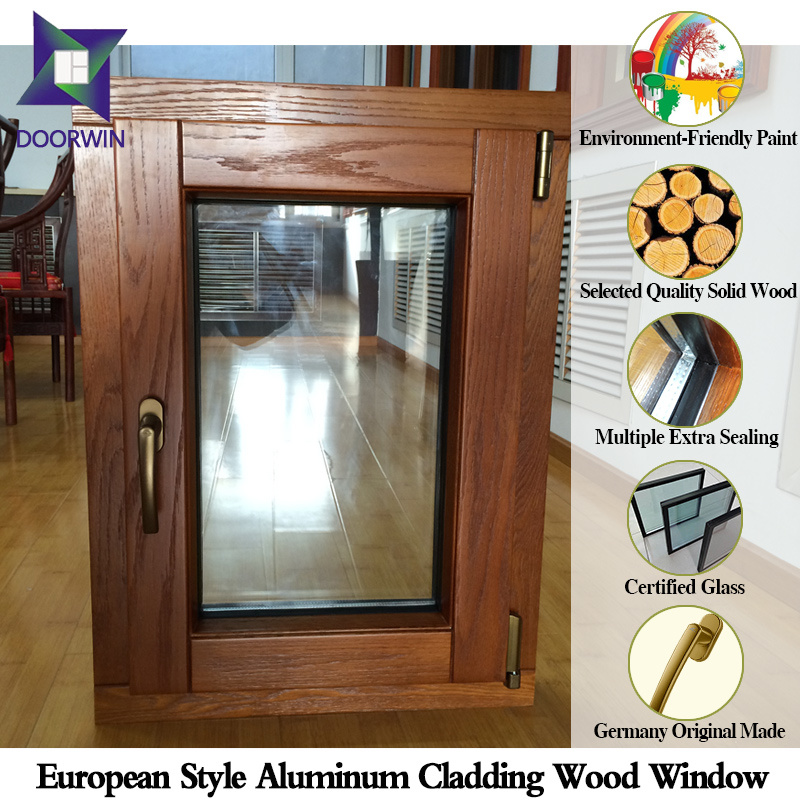 Unique Spiritual Fashion Modern Tilt Window, Oak Wood Thermal Break Aluminum Window for Energy-Saving House