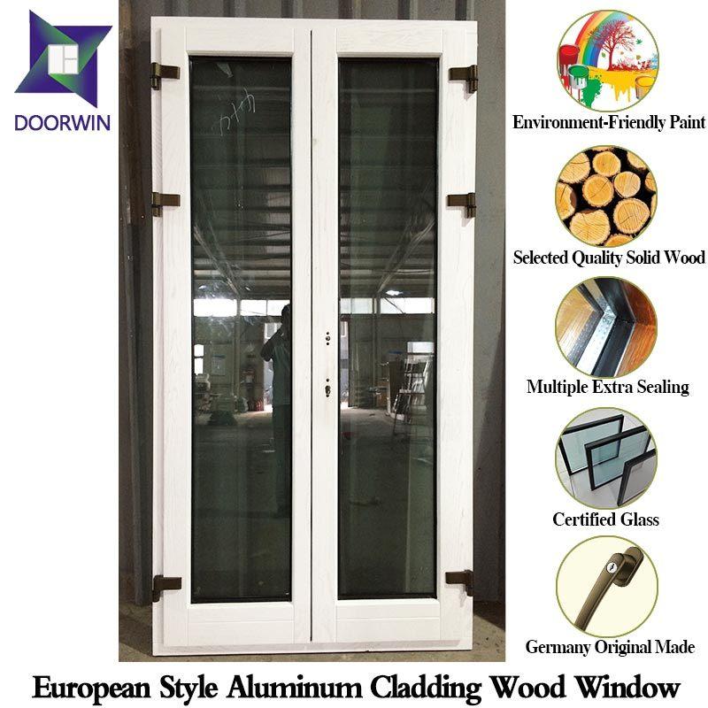 Solid Oak/Teak/Hemlock Wood Casement Windows and Doors with Aluminum Cladding, Durable American Style Window