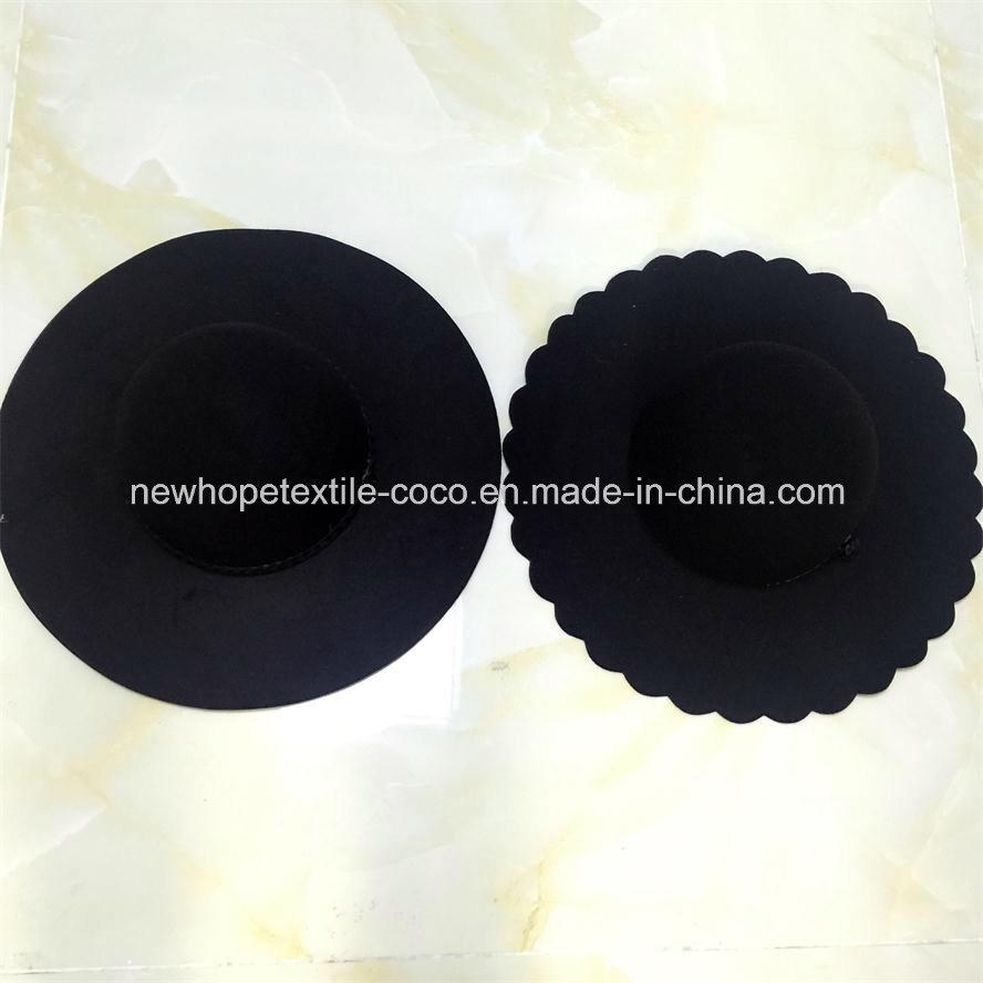 Fashion Large Brim Fake Wool Fedora or Floppy Hat with Ribbon