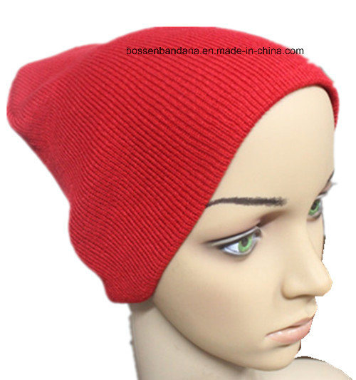 Custom Produce Color Solid Red Acrylic Knitted Winter Bibbed Beanie Snowboard Hat