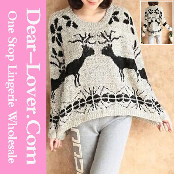 Wholesale Ladies Fashion Animal Pattern Sweater Tops Apparel